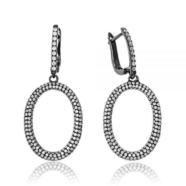 Cercei argint Latch Back Drop Earrings Zirconii TRSE095, Bijuterii - Corelle