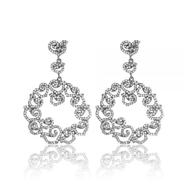 Cercei argint Surub Drop Earrings Zirconii TRSE096, Bijuterii - Corelle