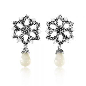 Cercei argint Surub Drop Earr Onix+Marcasite TRSE102, Bijuterii - Corelle