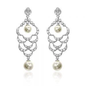 Cercei argint Surub Candelabru Perle+Zirconii TRSE104, Bijuterii - Corelle