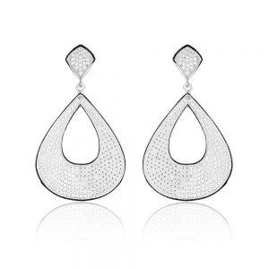 Cercei argint cu pietre Surub Drop Earrings Zirconii TRSE107, Bijuterii - Corelle