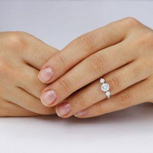 Inel de logodna argint cu 3 cristale TRSR005, Bijuterii - Corelle