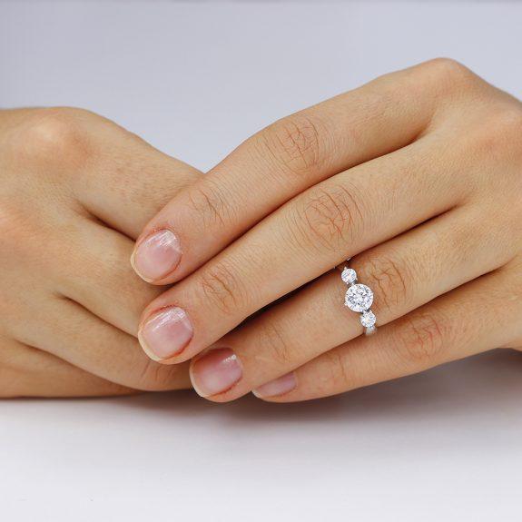 Inel de logodna argint cu 3 cristale TRSR027, Bijuterii - Corelle