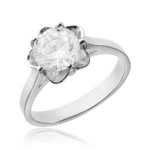 Inel de logodna argint Solitar cu cristale TRSR028, Bijuterii - Corelle
