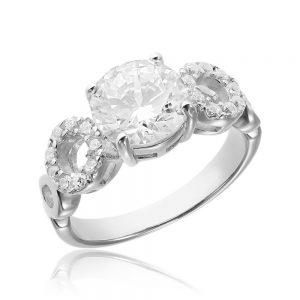 Inel de logodna argint Solitar cu cristale laterale/sant TRSR029, Corelle