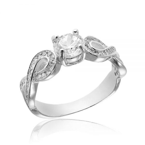 Inel de logodna argint Solitar cu cristale laterale/sant TRSR040, Corelle