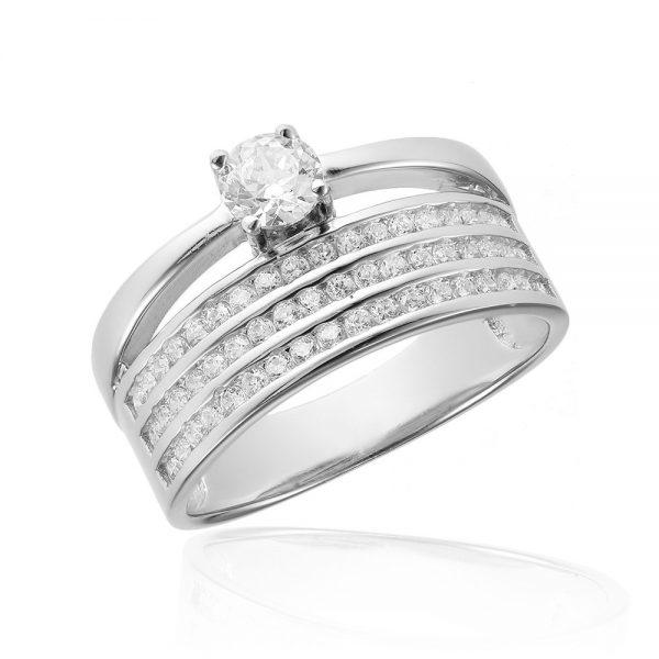 Inel de logodna argint Semi Eternity Solitar cu cristale TRSR047, Corelle