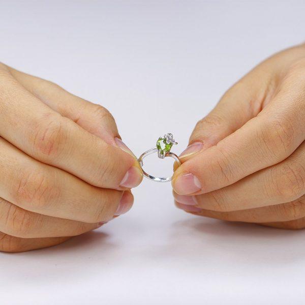 Inel argint Solitar Fancy NoTouch cu cristal Verde TRSR059, Corelle