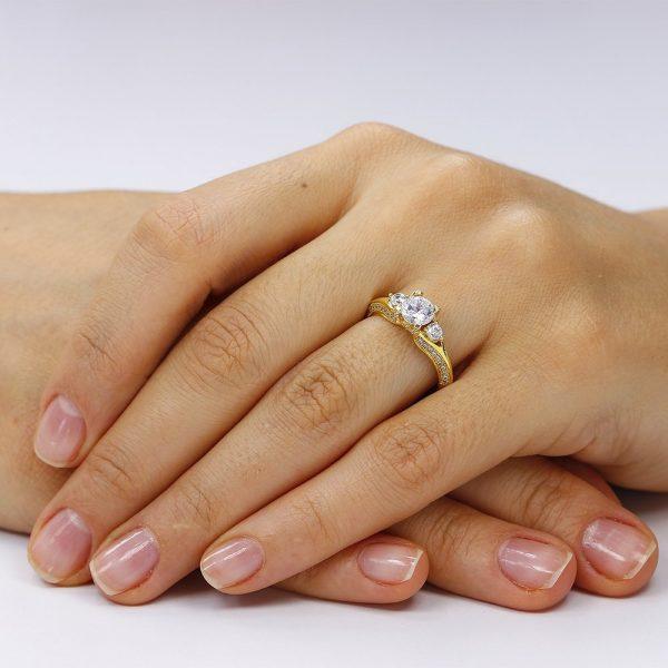 Inel de logodna argint cu 3 cristale centrale TRSR060, Corelle