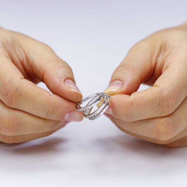 Grup de 3 inele argint Semi Eternity cu cristale TRSR077, Corelle