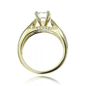 Inel de logodna argint Solitar cu cristale laterale TRSR087, Corelle
