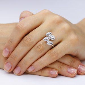 Inel argint Lacrima Fancy NoTouch cu cristale & anturaj TRSR090, Corelle