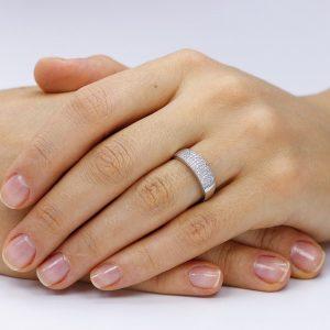 Inel argint Semi Eternity tip cu cristale din zirconiu TRSR091, Corelle