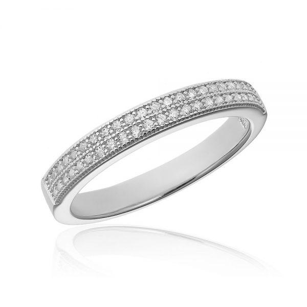 Inel argint Semi Eternity cu cristale TRSR129, Bijuterii - Corelle