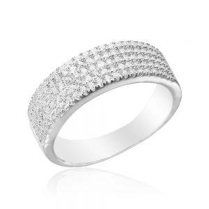 Inel argint Semi Eternity cu cristale TRSR133, Bijuterii - Corelle