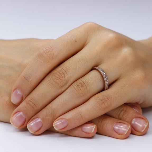 Inel argint Semi Eternity cu cristale TRSR135, Bijuterii - Corelle