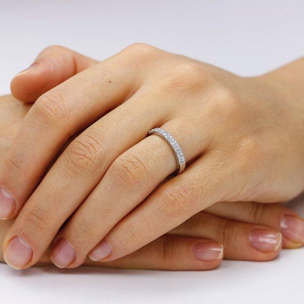 Inel argint Semi Eternity cu cristale TRSR138, Bijuterii - Corelle