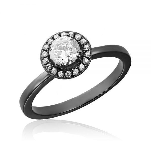 Inel de logodna argint black rhodium Solitar Negru Anturaj cu cristale TRSR143, Corelle