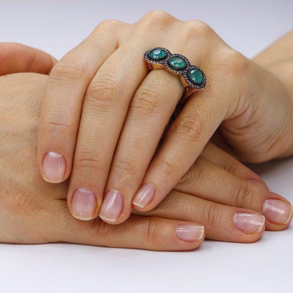 Inel argint Trei Agate Fancy Anturaj cu cristale TRSR151, Corelle