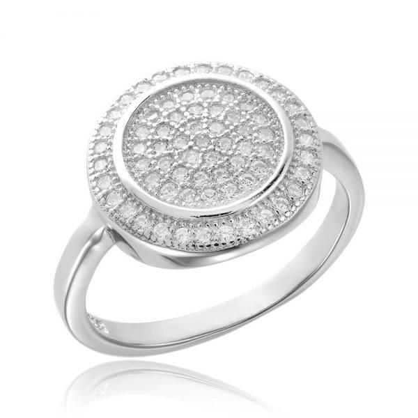 Inel argint Fancy Circle cu cristale TRSR158, Bijuterii - Corelle