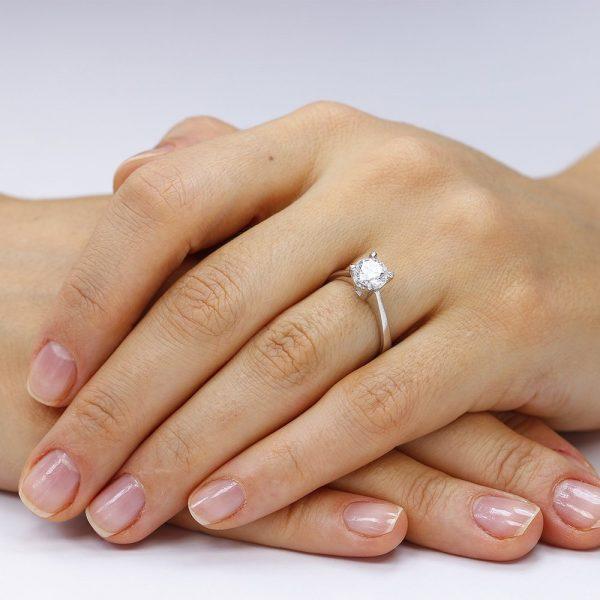 Inel argint Solitar cu cristal briliant din zirconiu TRSR165, Corelle