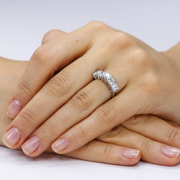 Inel argint cu 5 cristale briliant din zirconiu TRSR168, Bijuterii - Corelle