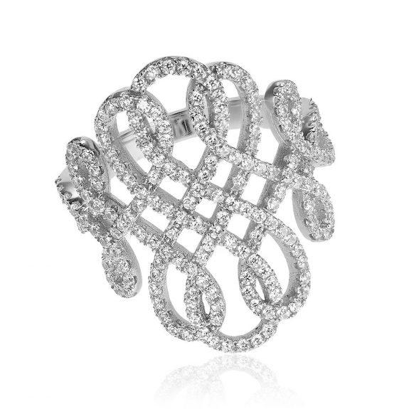 Inel argint Fancy cu cristale mici din zirconii TRSR194, Bijuterii - Corelle