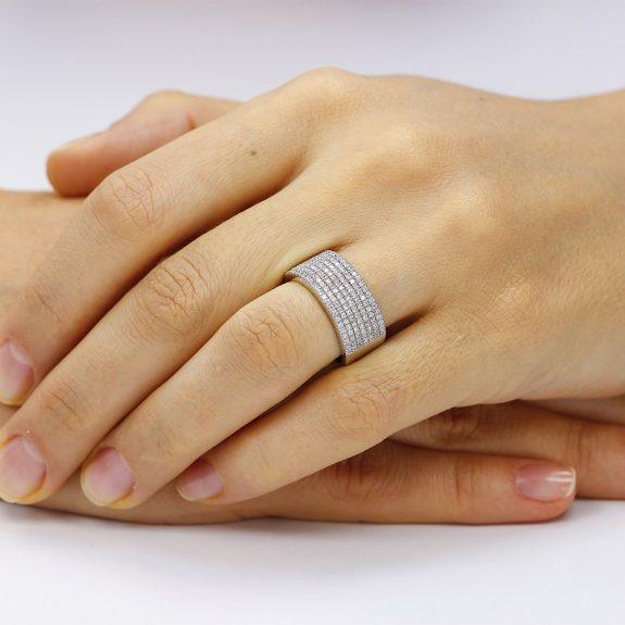 Inel argint Semi Eternity Fancy cu cristale TRSR198, Bijuterii - Corelle