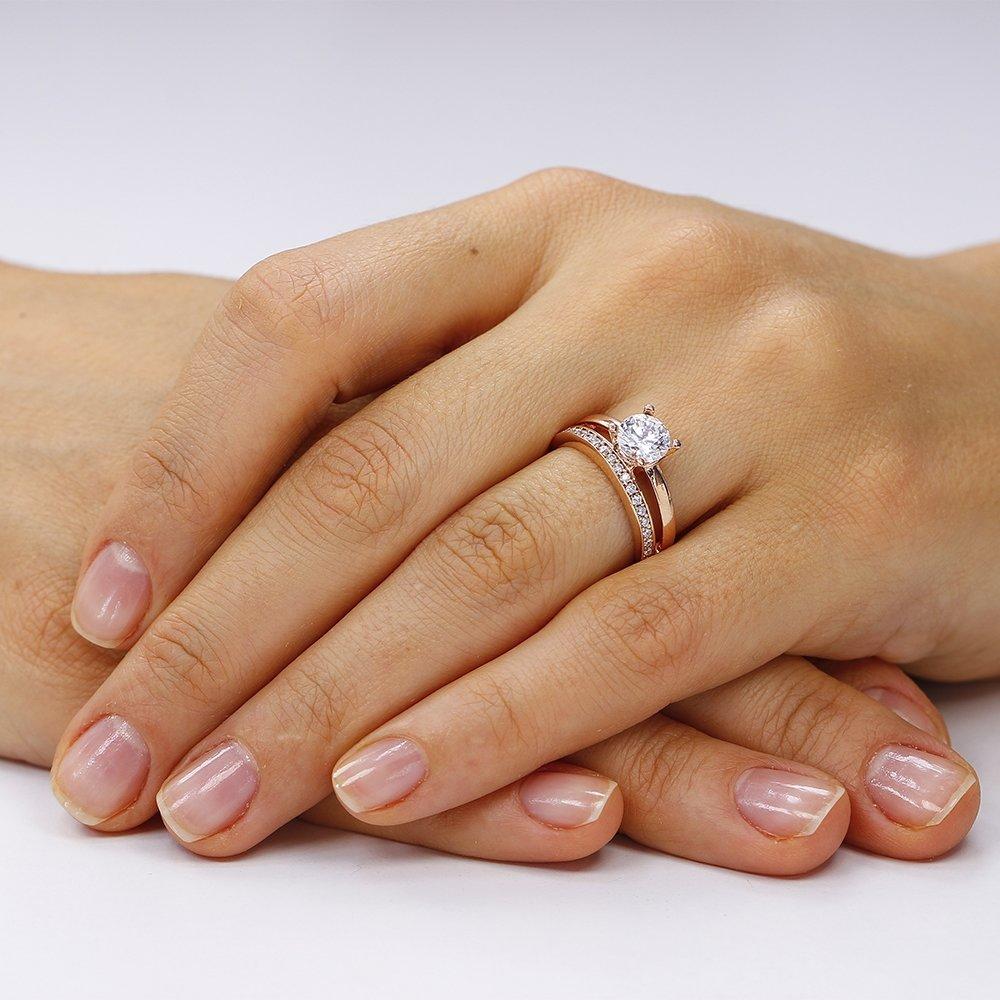Inele de logodna. Inel argint Solitar cu cristale laterale laterale/sant TRSR205, Corelle