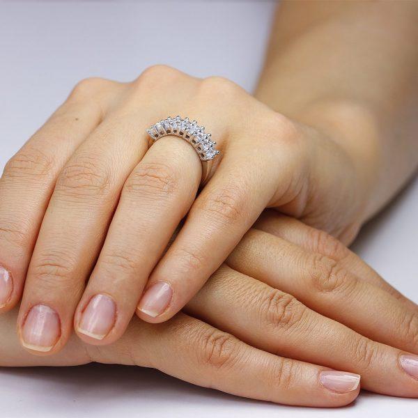 Inel argint Semi Eternity Fancy cu cristale TRSR219, Bijuterii - Corelle