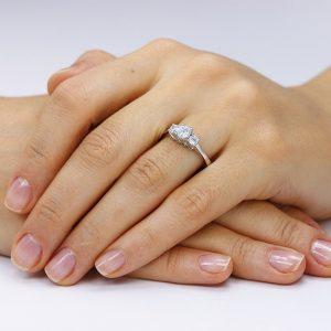Inel argint cu 3 cristale briliant din zirconiu TRSR220, Bijuterii - Corelle