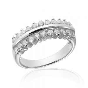 Inel argint Semi Eternity Fancy cu cristale TRSR224, Bijuterii - Corelle