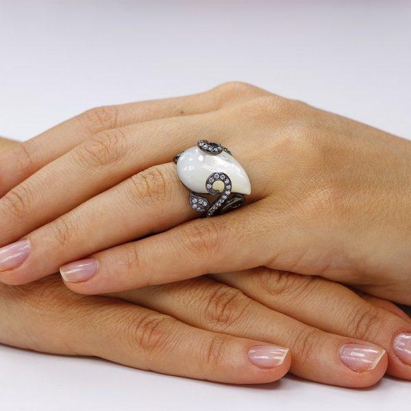 Inel argint Sidef Solitar cu cristale laterale TRSR236, Corelle