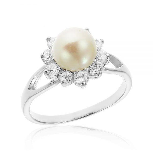 Inel argint Solitar Fancy Perla cu cristale TRSR238, Corelle