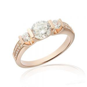 Inele de logodna. Inel de logodna argint Rose cu 3 cristale mari TRSR241, Corelle