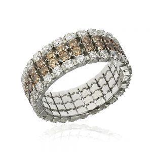 Inel argint Eternity cu cristale albe & maro TRSR250, Bijuterii - Corelle
