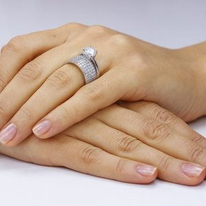 Inel argint Solitar Semi Eternity cu cristale/sant TRSR252, Corelle