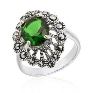 Inel argint Solitar cu Cristal Verde si marcasite TRSR254, Corelle