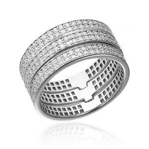 Grup de 3 inele argint Eternity cu cristale TRSR257, Bijuterii - Corelle