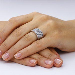 Grup de 7 inele argint Semi Eternity cu cristale TRSR270, Corelle