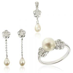 Set argint cu perla si cristale TRSS005, Corelle