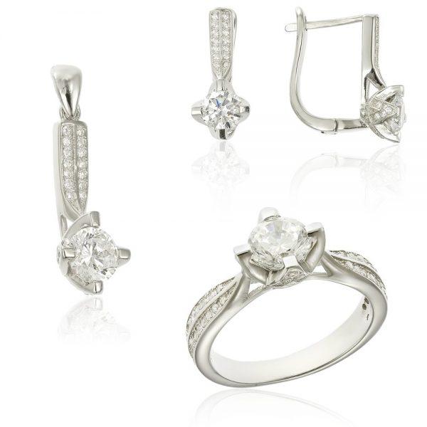 Set argint cu cristale laterale TRSS006, Corelle